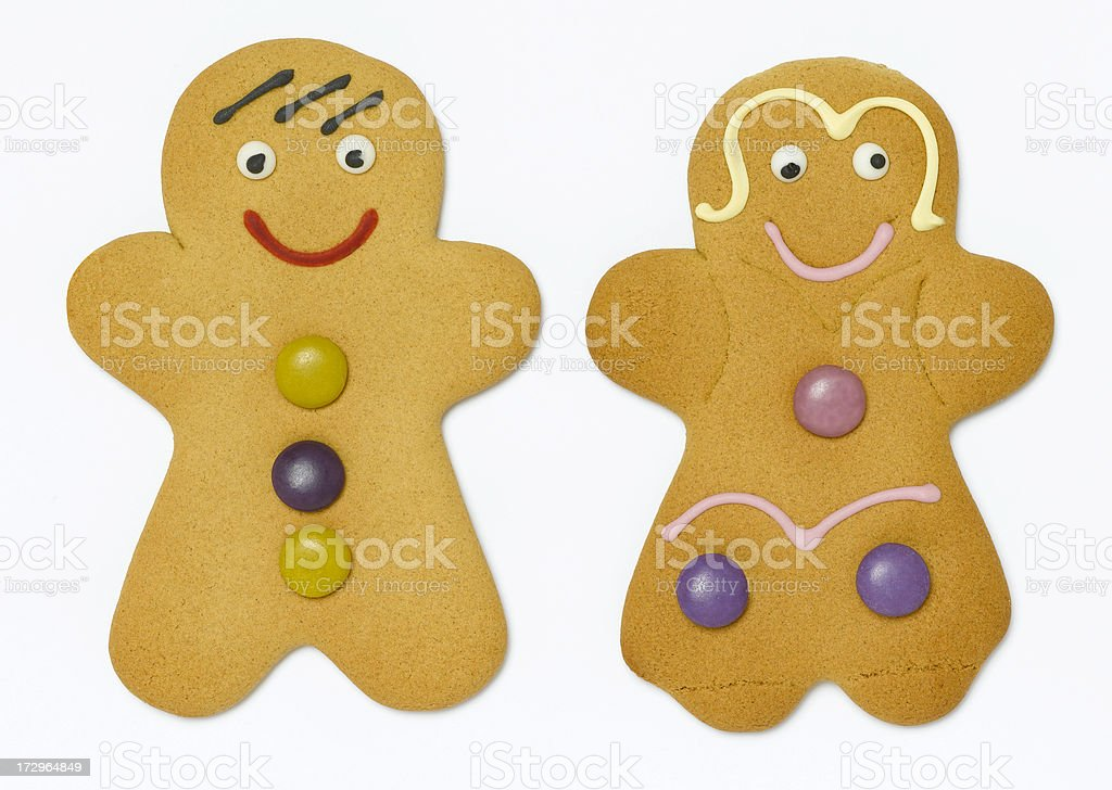 gingerbread man and woman royalty-free stock photo