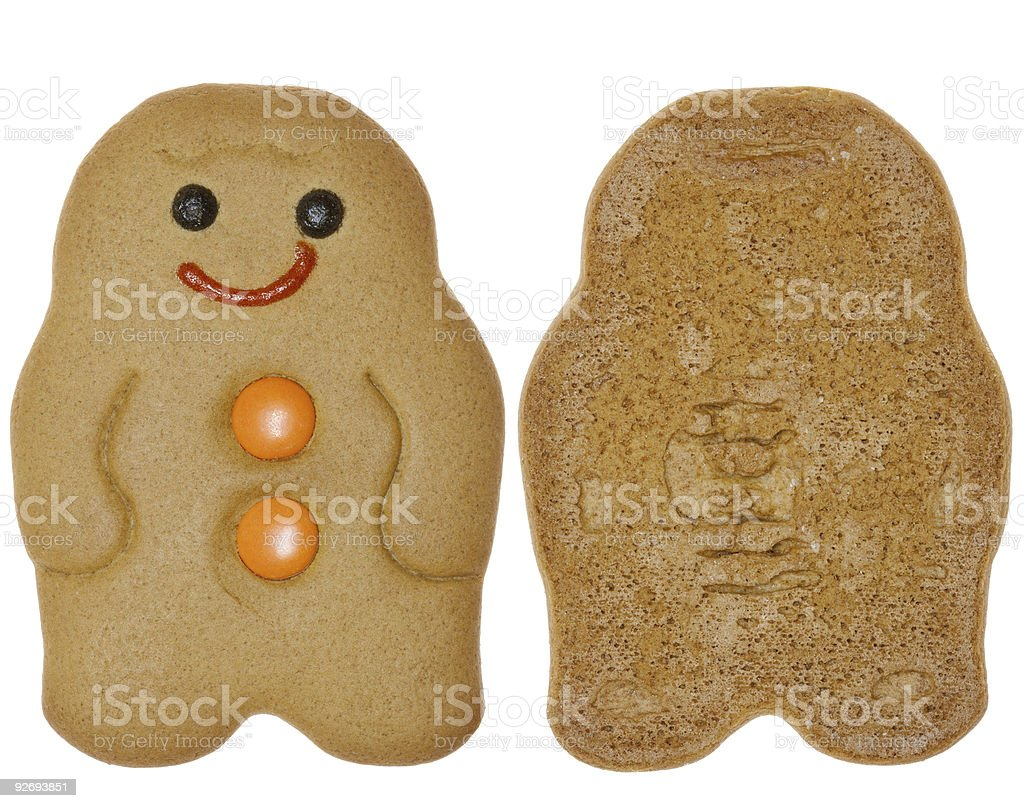 Gingerbread Man cookie, two sides royalty-free stock photo
