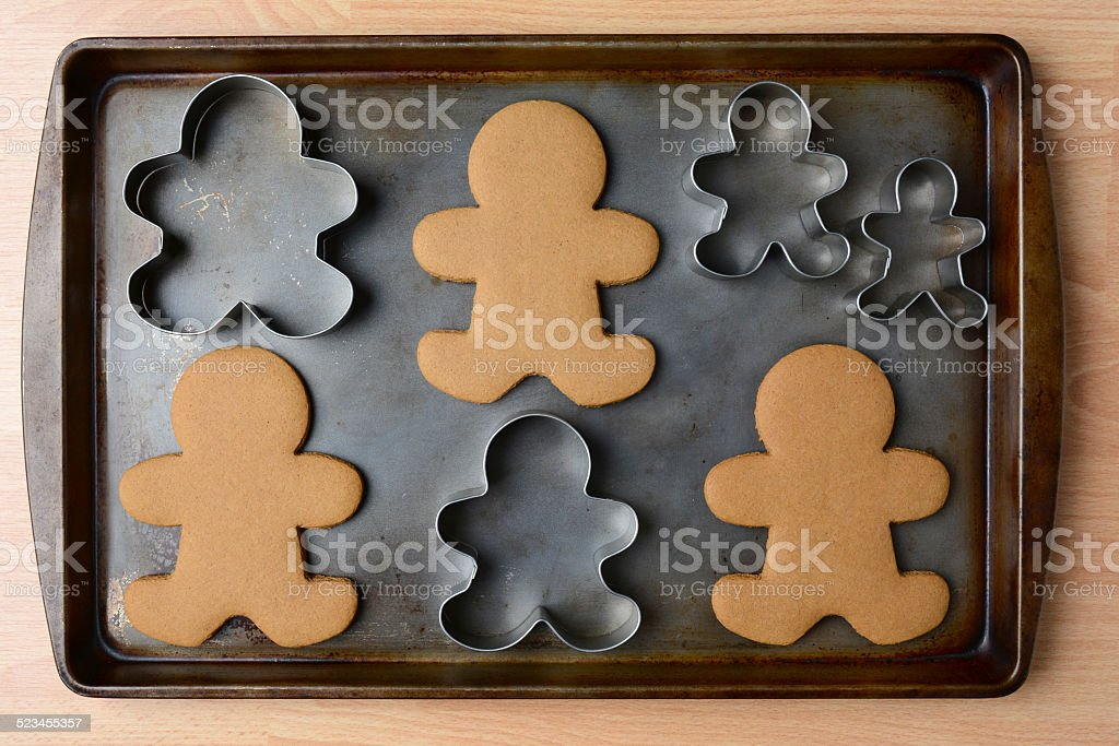 Gingerbread Man Cookies and Cutters stock photo