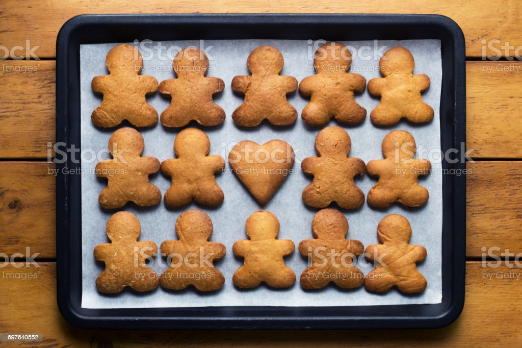 Gingerbread Man Cookies and Hearts / Harmony and Peace stock photo
