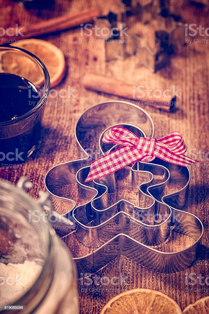 Gingerbread Man Cutters for Christmas Baking stock photo