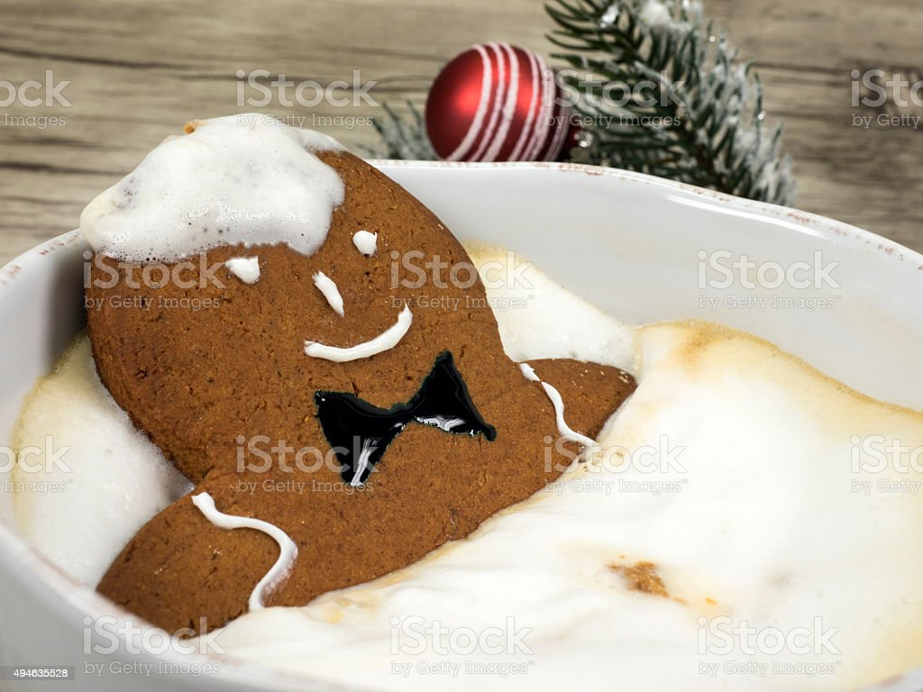 gingerbread man in the bathtub stock photo