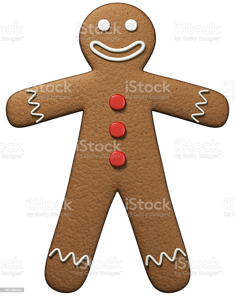 Gingerbread man isolated on white royalty-free stock photo