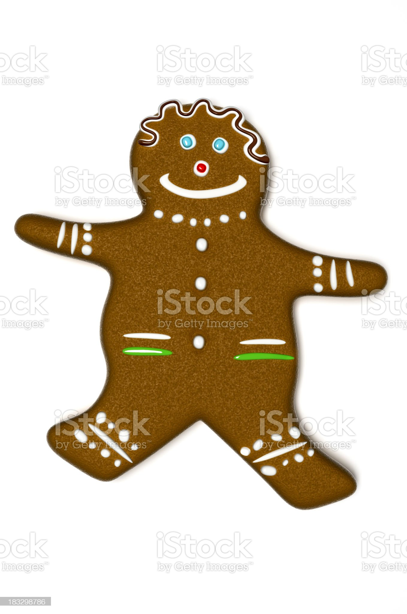 Gingerbread Man on White Background, Clipping Path included (XXXL) royalty-free stock photo