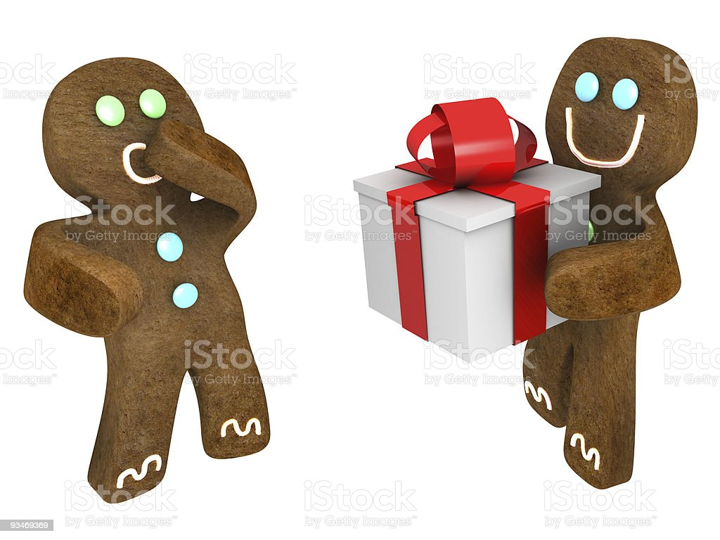 Gingerbread man present royalty-free stock photo