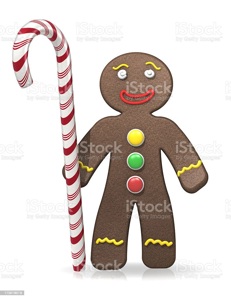 Gingerbread Man With Candy Cane royalty-free stock photo