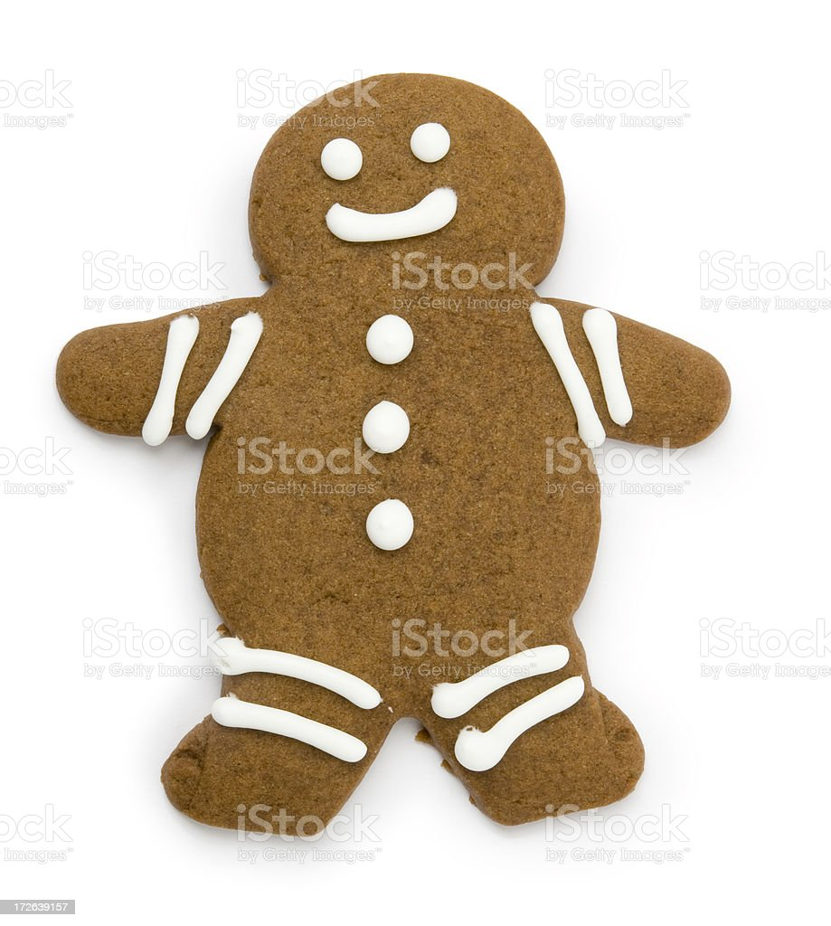 Gingerbread man with clipping path stock photo