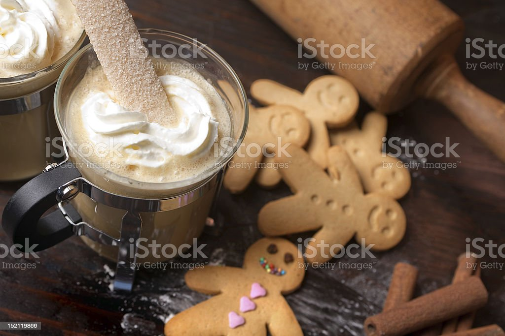 Gingerbread man with coffee royalty-free stock photo