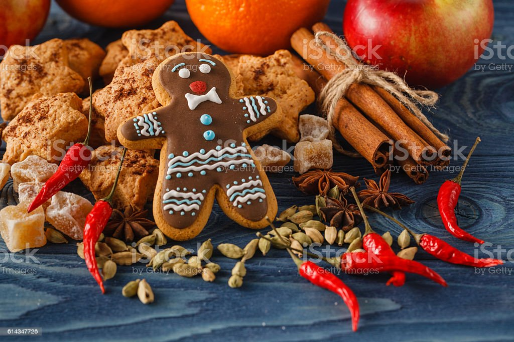 gingerbread man with sugar, spices stock photo