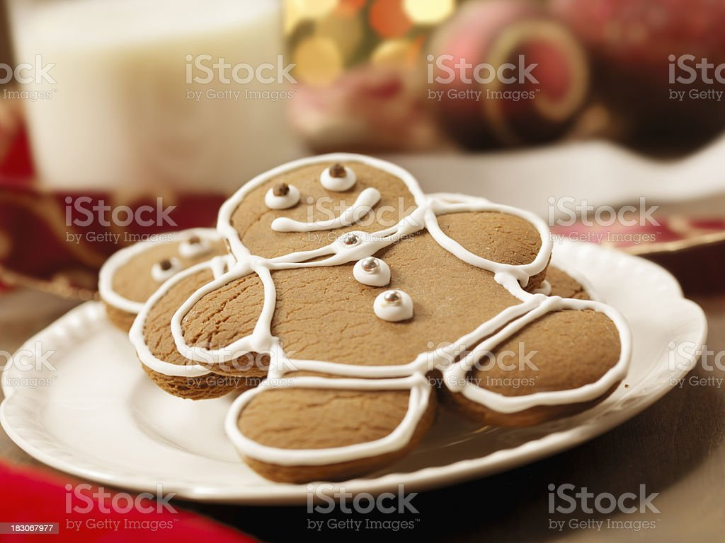Gingerbread Men Cookies With Milk at Christmas Time royalty-free stock photo