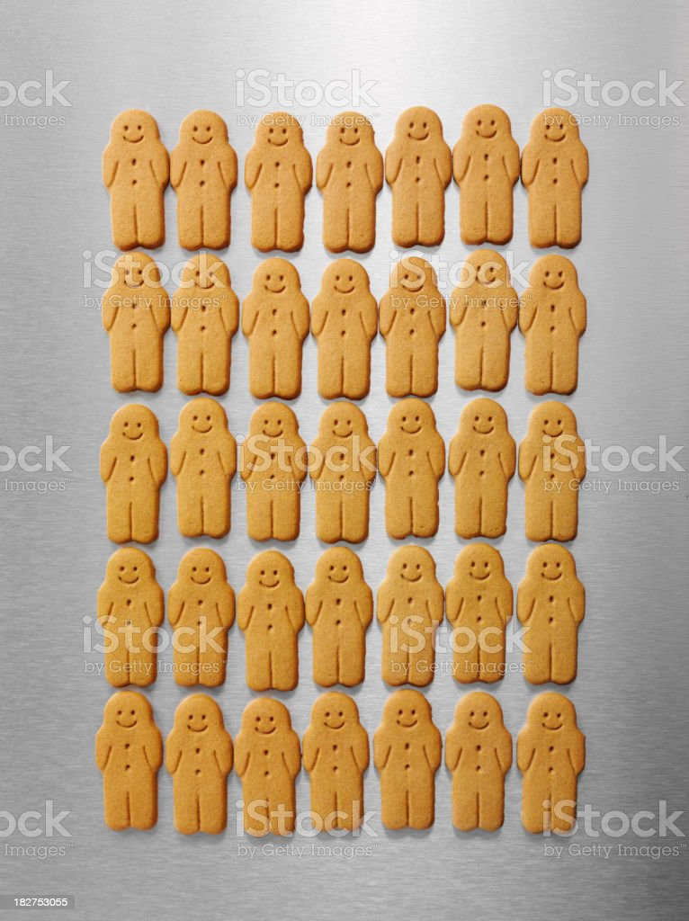 Gingerbread Men in a Row royalty-free stock photo