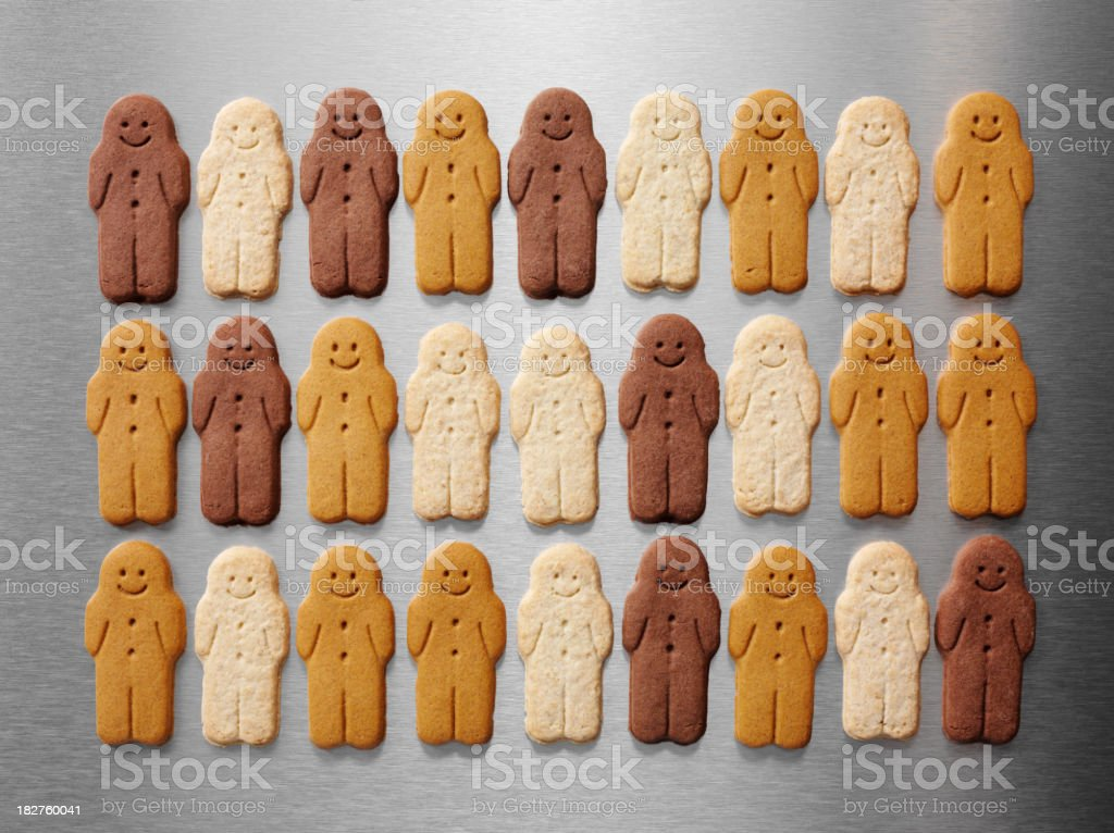 Gingerbread Men in Three Lines royalty-free stock photo