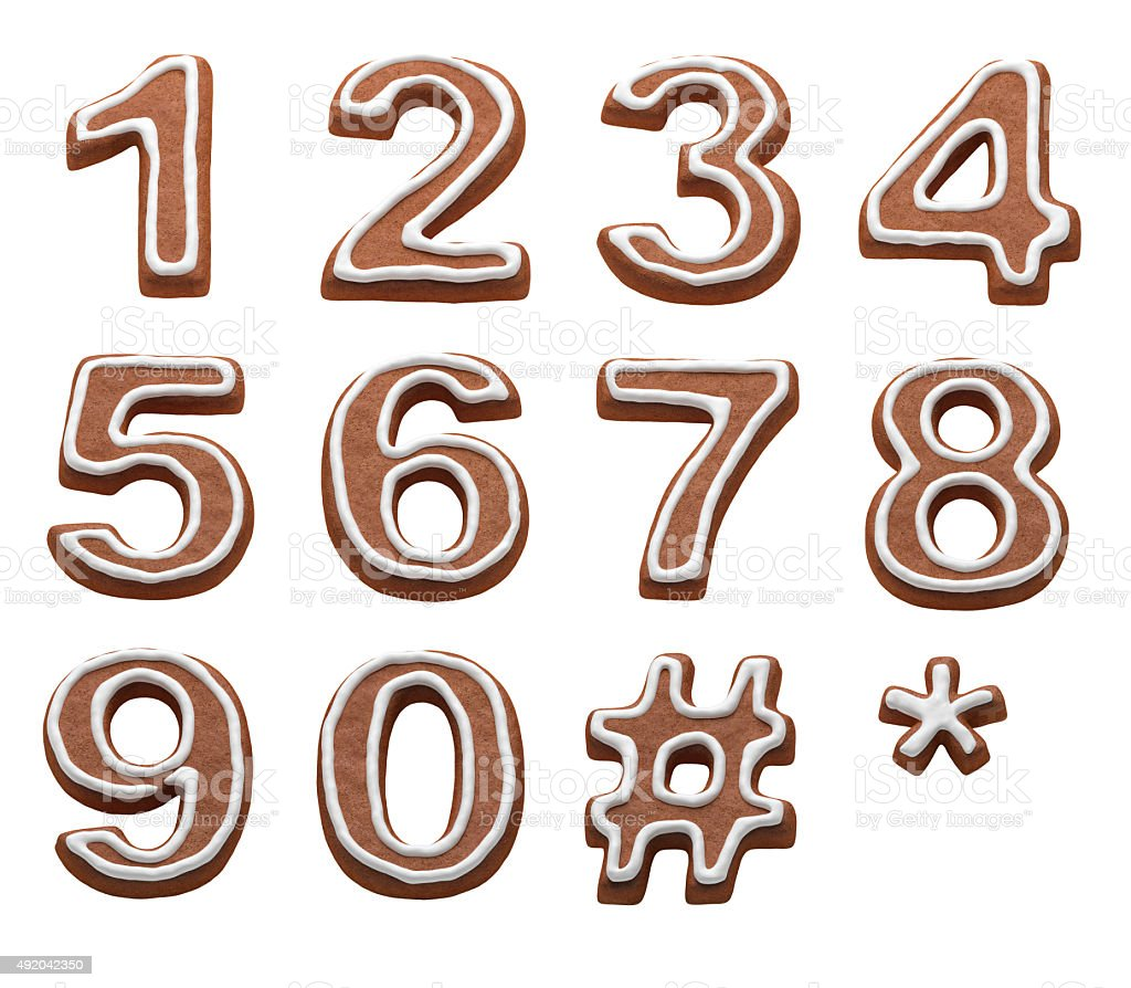 gingerbread numbers stock photo