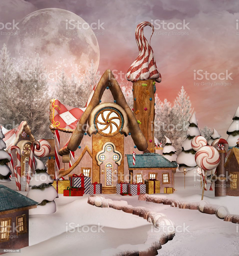 Gingerbread snowy village stock photo