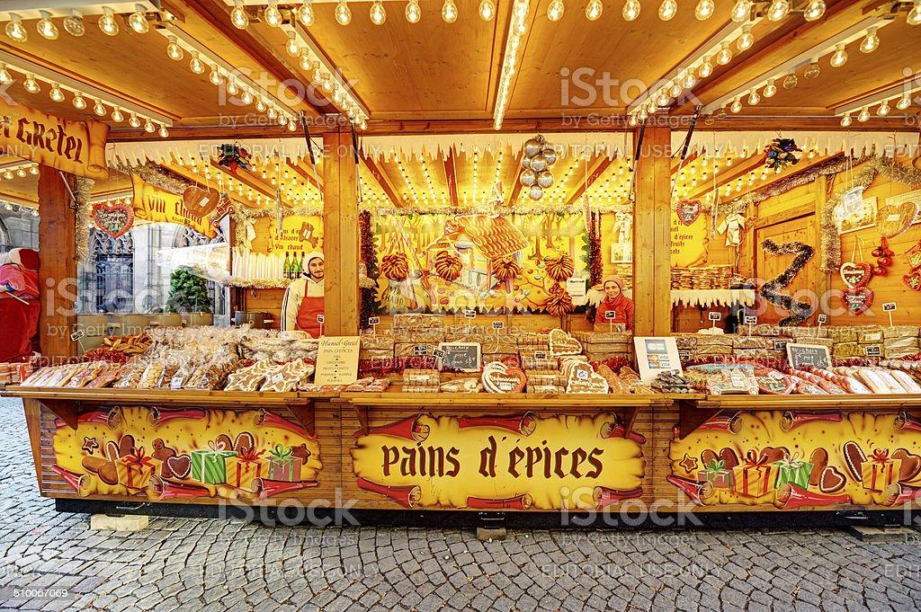 Gingerbread stall in Strasbourg Christmas market, France stock photo
