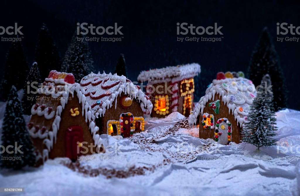 Gingerbread Village in the Snow stock photo