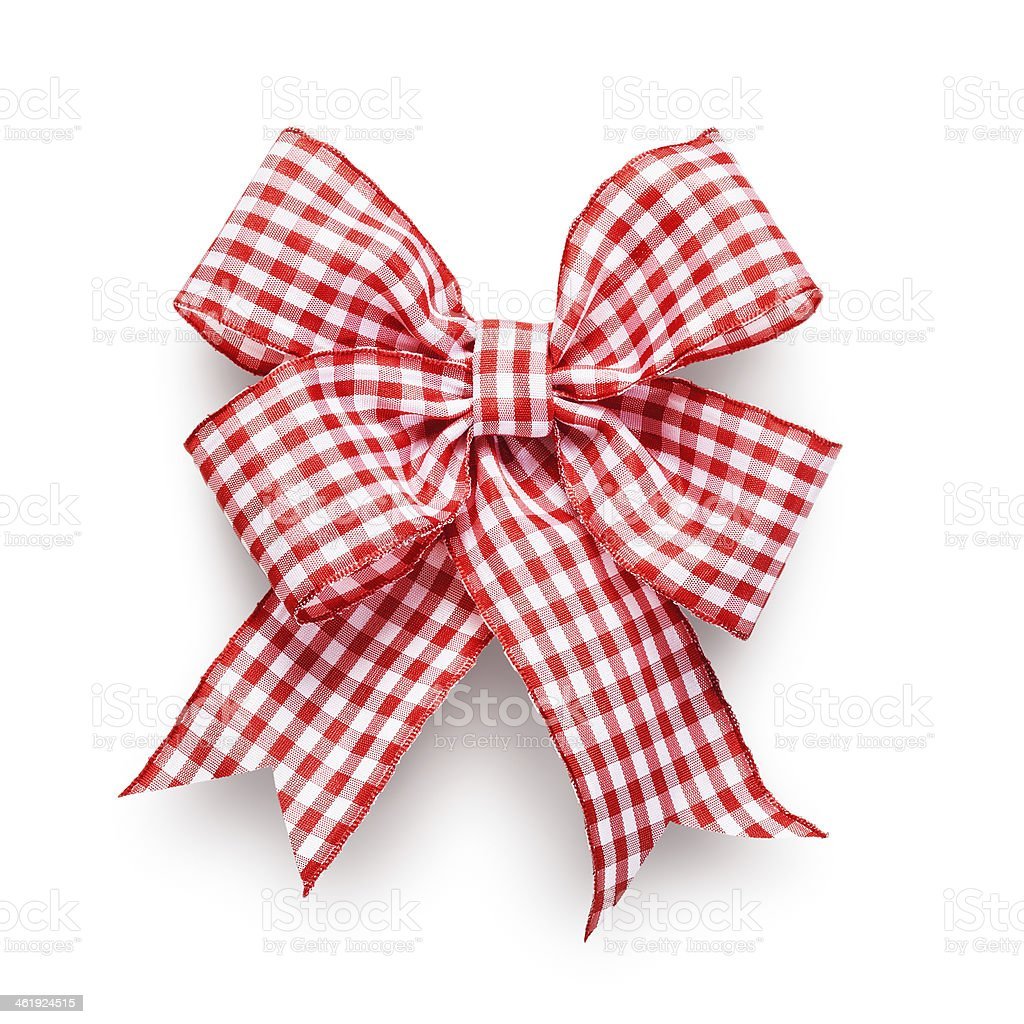 Gingham checkered red and white bow made of ribbon stock photo