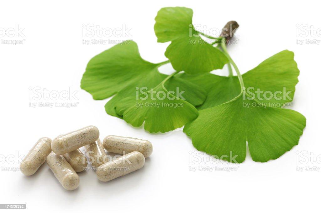 ginkgo biloba leaves and medicine capsule pills stock photo