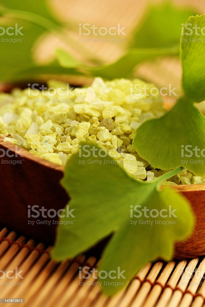 ginko bath salt royalty-free stock photo