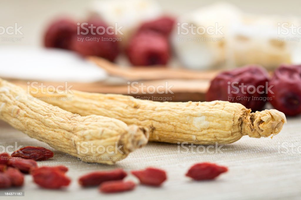 Ginseng and other Chinese herbal medicine stock photo