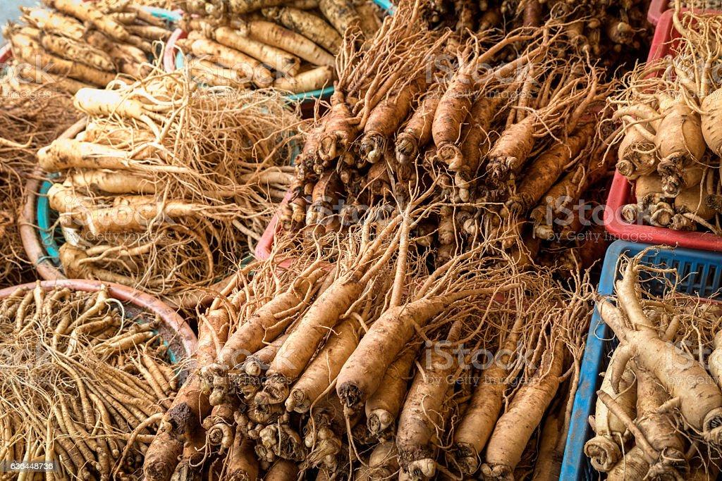 Ginseng in Korean market stock photo