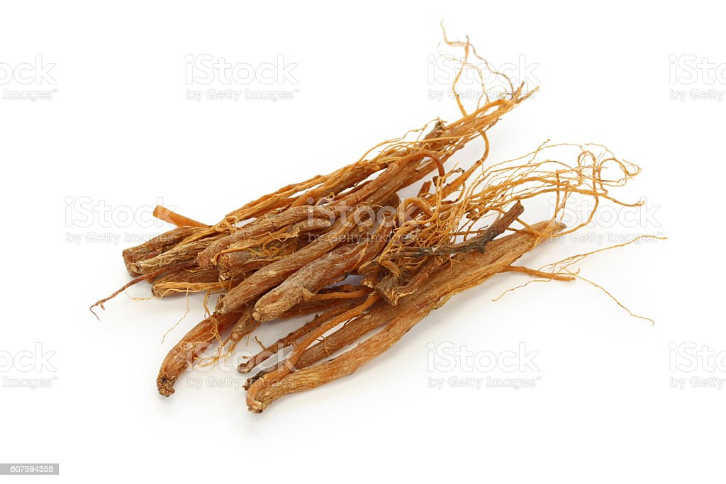 ginseng roots, panax ginseng, traditional chinese herbal medicine stock photo
