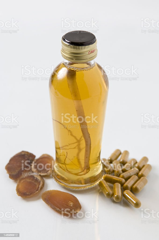 Ginseng Slices, Capsules and Extract Liquid stock photo