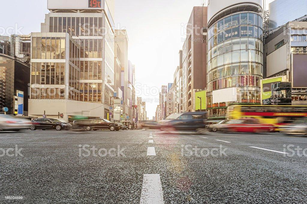 Ginza Crossing Traffic Tokyo Japan royalty-free stock photo