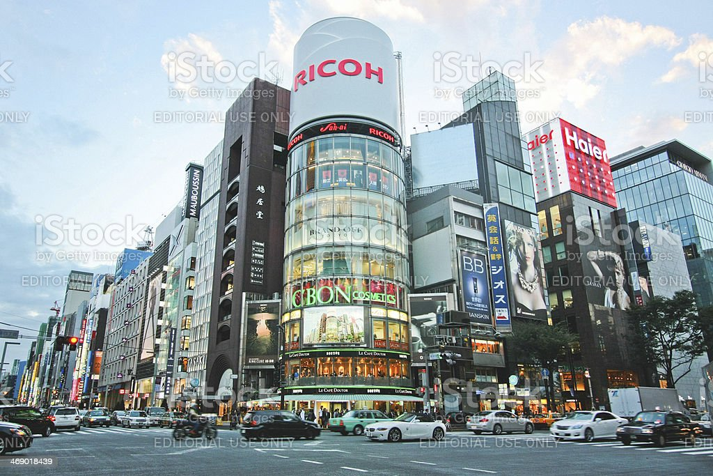 Ginza downtown stock photo