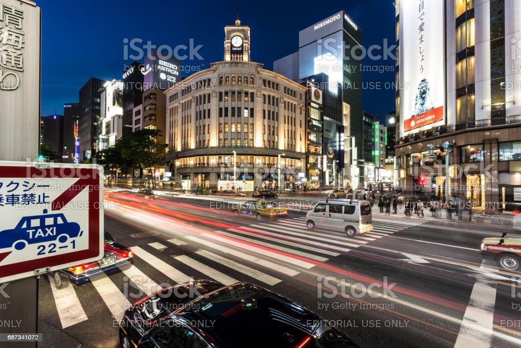 Ginza rush in Tokyo stock photo