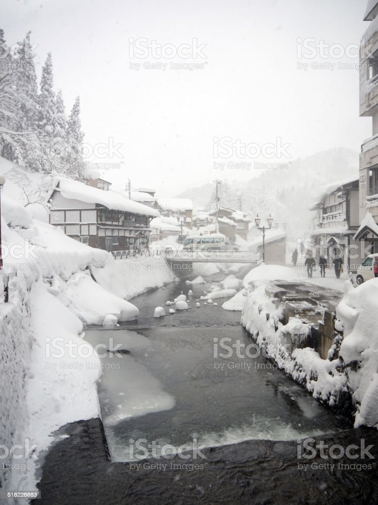 Japanese village in the winter stock photo