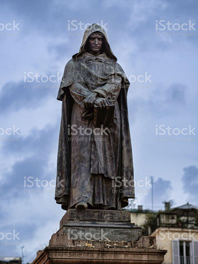 Giordano Bruno statue at Campo Dei Fiori square Rome, Italy stock photo