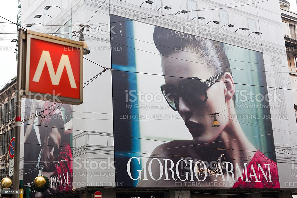 Giorgio Armani Commercial Sign in Milan, Italy royalty-free stock photo
