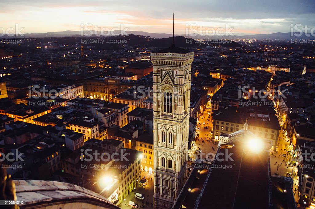 Giotto's Bell Tower from the Cupola stock photo