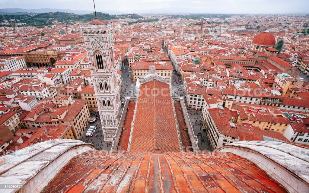 Giotto's Campanile from top of Florence Duomo stock photo