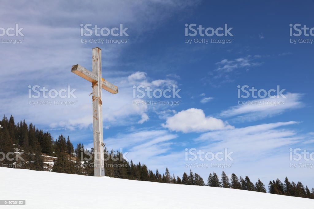 Gipfelkreuz in Vorarlberg. Österreich stock photo