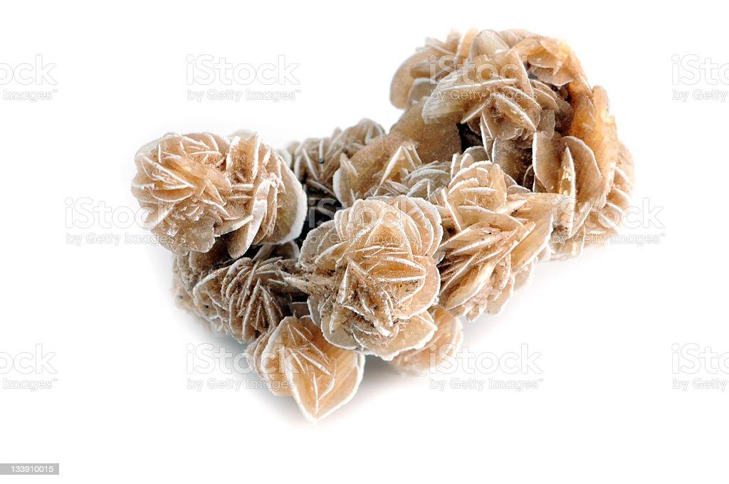 Gips Desert rose (crystal) - Gypsum crystal on white background stock photo