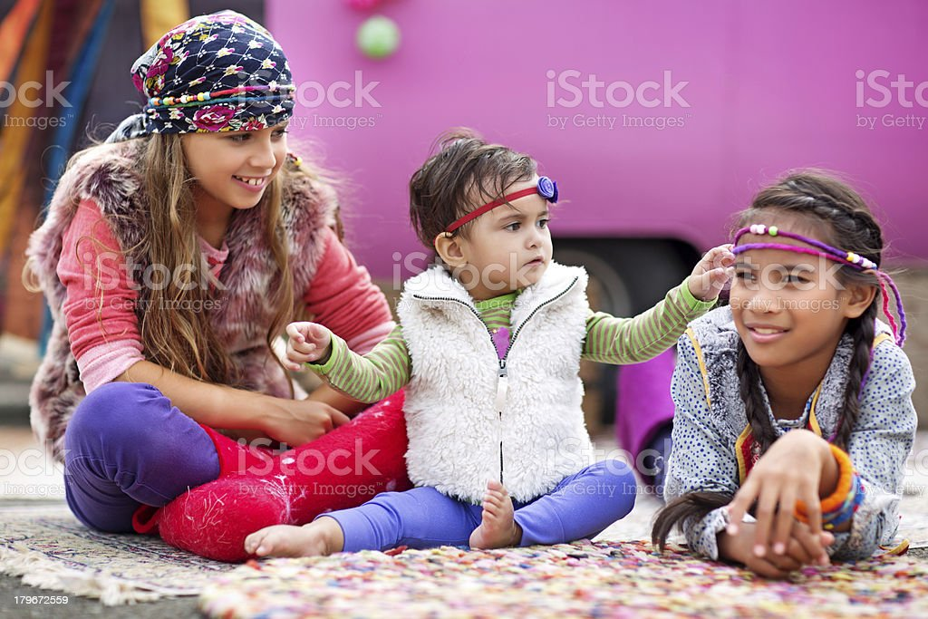 gipsy children playing outdoors royalty-free stock photo