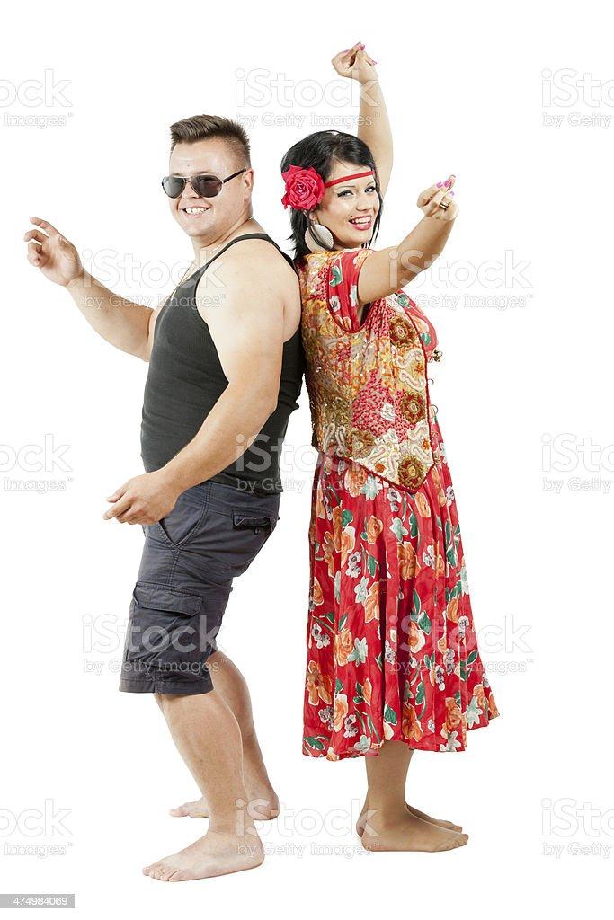 Gipsy couple dancing royalty-free stock photo