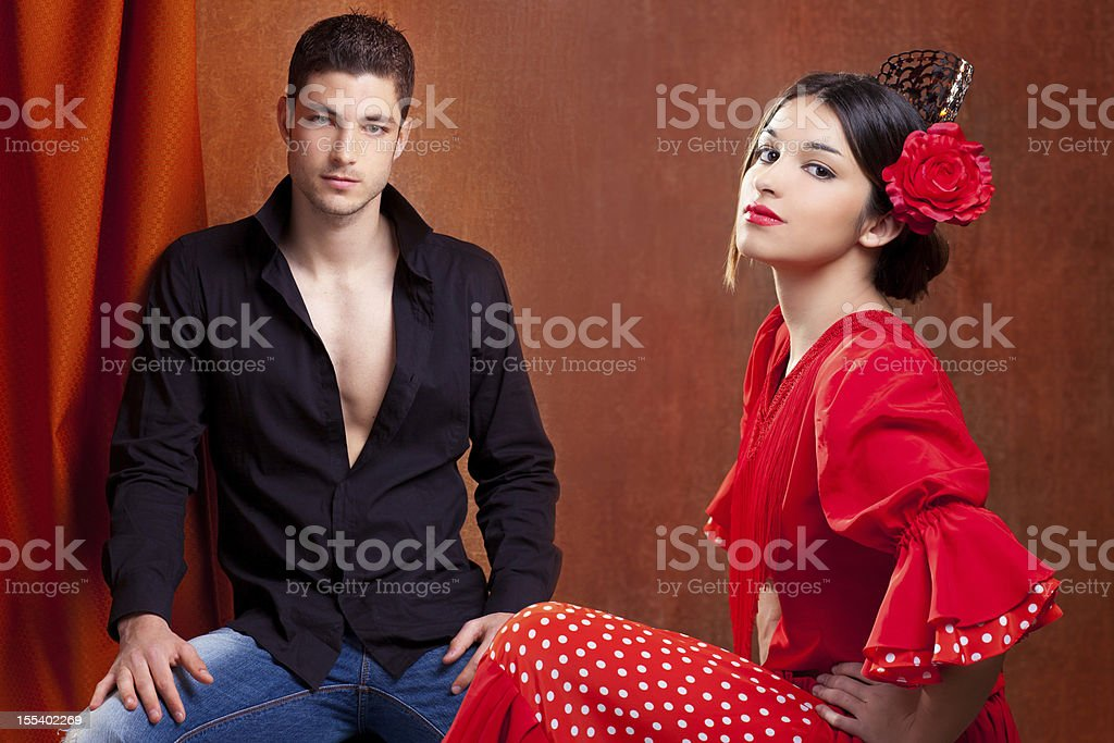Gipsy flamenco dancer couple from Spain stock photo