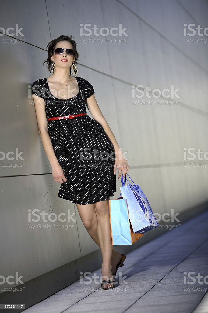 gir with shopping bags royalty-free stock photo