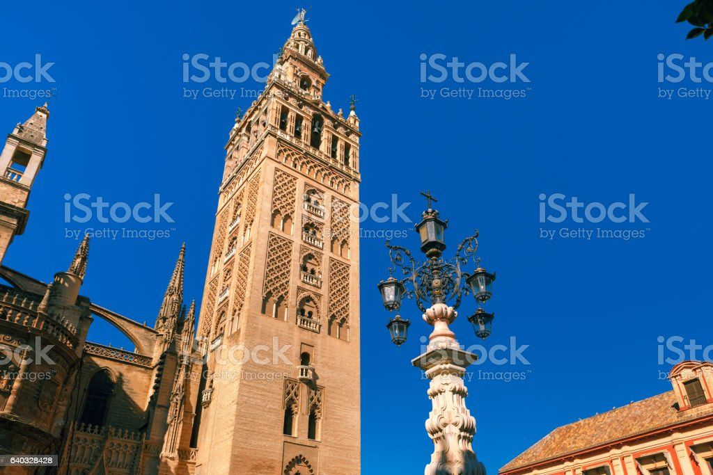 Giralda and Seville Cathedral in the morning, Spain stock photo