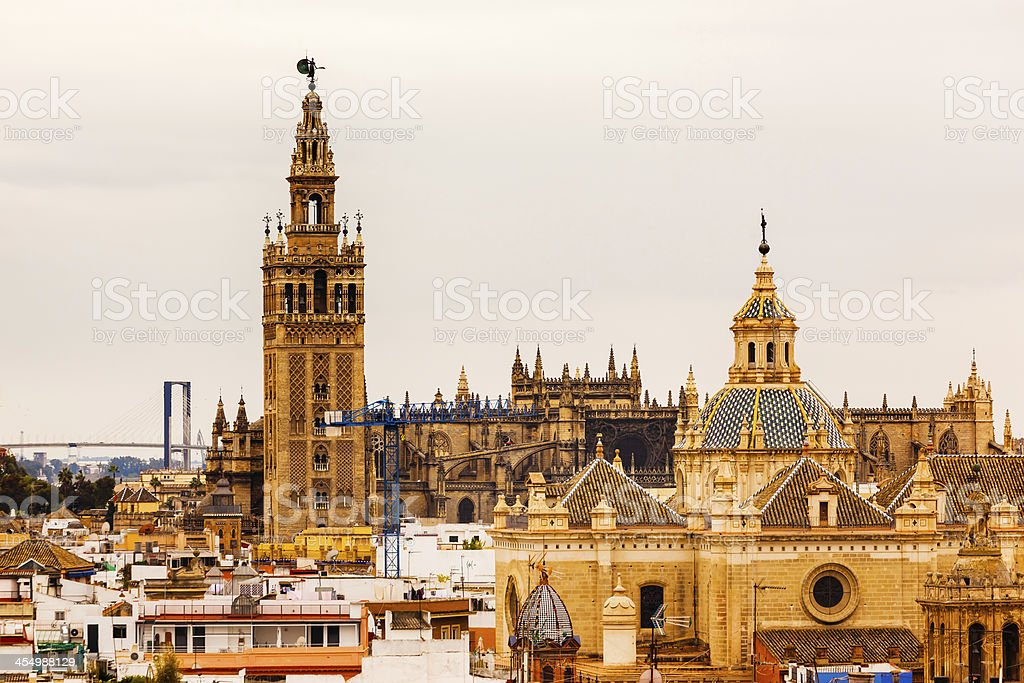 Giralda Bell Tower Church Dome Seville Spain stock photo
