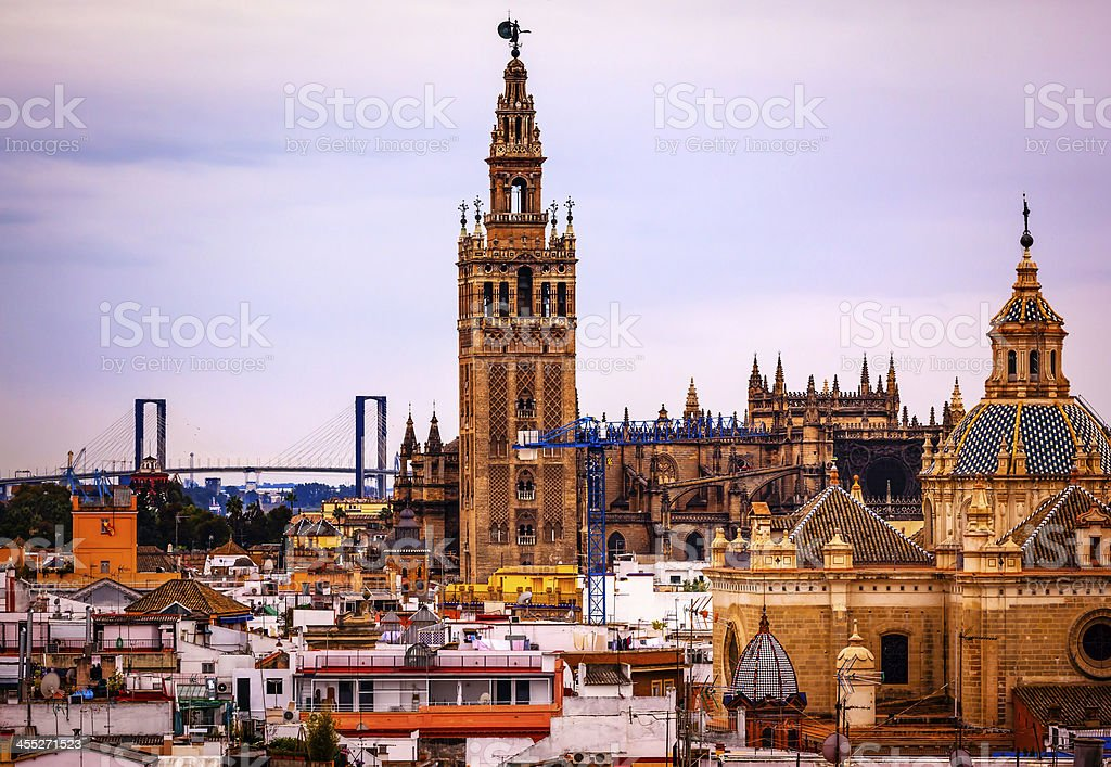 Giralda Bell Tower Seville Cathedral Church El Salvador Spain stock photo