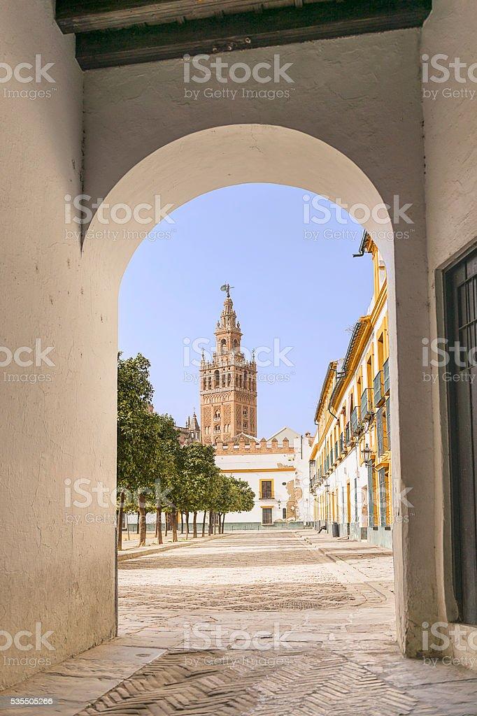Giralda tower seen from Alcazar stock photo