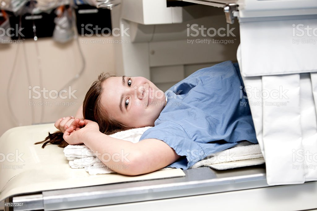 Girl about to have a Barium Meal test stock photo