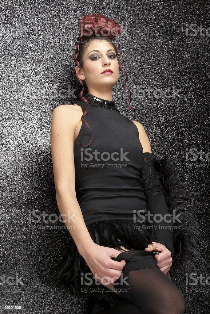 girl adjusting stocking stock photo