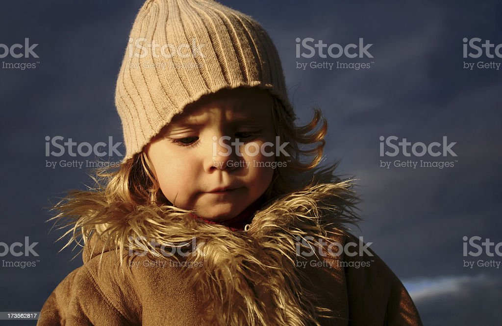 girl against dark sky royalty-free stock photo