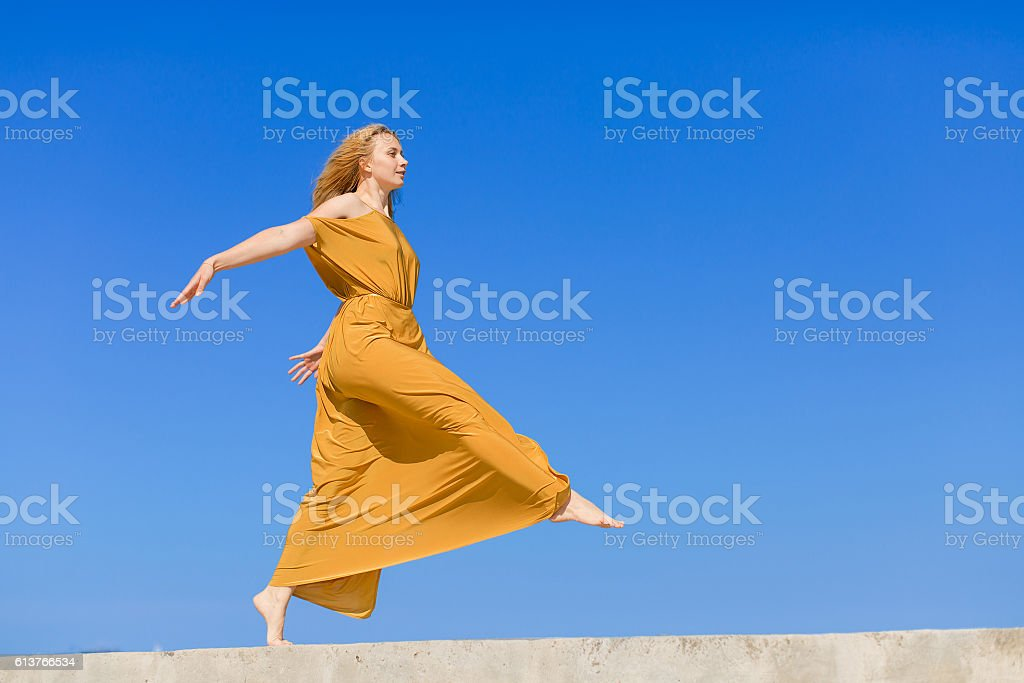 Girl against the sky stock photo