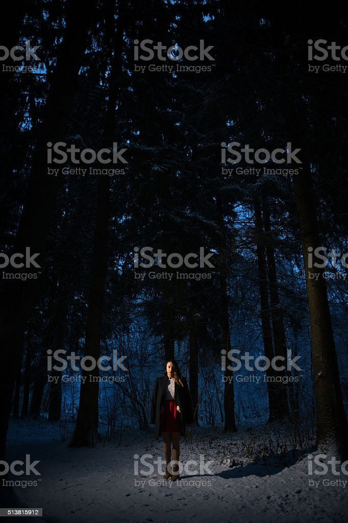 girl alone in the woods stock photo
